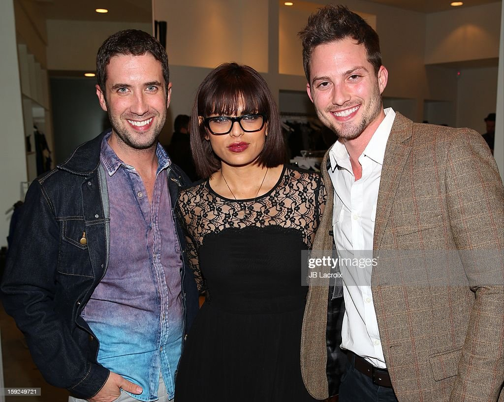 Ben Russo, Jackie Gonzalez and Jarred Russo attend the TopMen Exclusive Pop Up Shopping Event at TopShop on January 9, 2013 in Los Angeles, California.