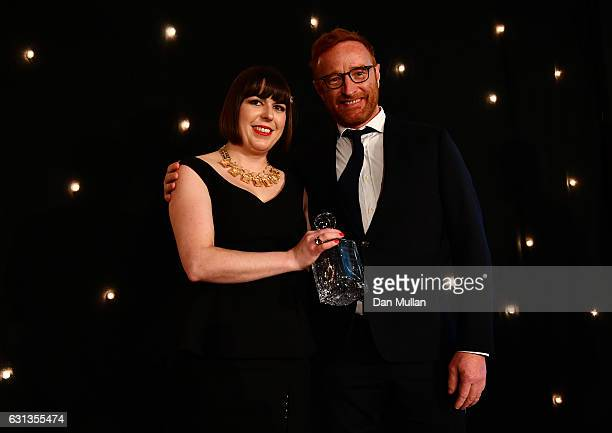 Ben Ryan is presented with the Rugby Union Writers' Club Special Award by Sarah Mockford during the Rugby Union Writers' Club Annual Dinner Awards at...