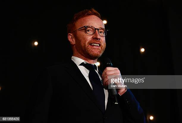 Ben Ryan speaks after receiving the Rugby Union Writers' Special Award during the Rugby Union Writers' Club Annual Dinner Awards at the London...