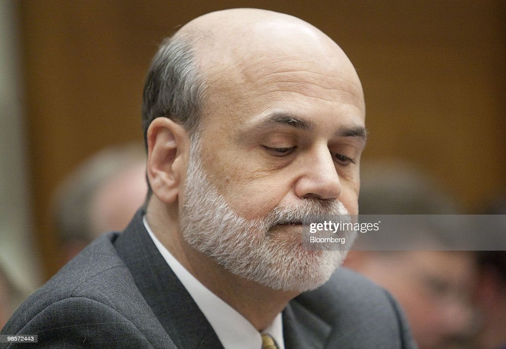 Ben S. Bernanke, chairman of the U.S. Federal Reserve, listens during a House Financial Services Committee hearing on the Lehman Brothers Holdings Inc. bankruptcy in Washington, D.C., U.S., on Tuesday, April 20, 2010. Lehman Brothers Holdings Inc., which filed the biggest bankruptcy in U.S. history, violated its own risk-management rules with the knowledge of the U.S. Securities and Exchange Commission, a bankruptcy examiner said. Photographer: Andrew Harrer/Bloomberg via Getty Images