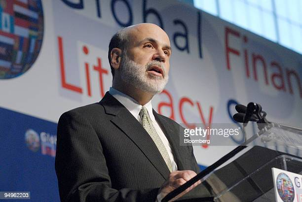 Ben S Bernanke chairman of the US Federal Reserve speaks at the Operation Hope Global Financial Literacy Summit in Washington DC US on Wednesday June...