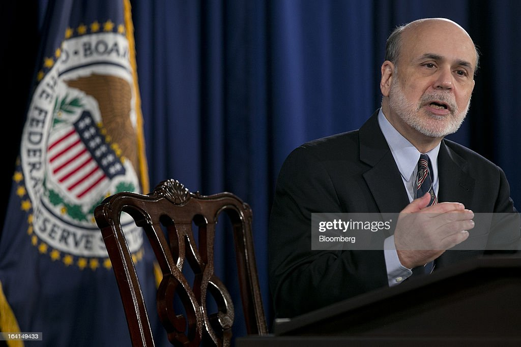 Ben S. Bernanke, chairman of the U.S. Federal Reserve, speaks during a news conference following a Federal Open Market Committee (FOMC) meeting in Washington, D.C., U.S., on Wednesday, March 20, 2013. The Federal Reserve will keep up its bond buying at a pace of $85 billion a month even as the world's largest economy and the job market pick up. Photographer: Andrew Harrer/Bloomberg via Getty Images