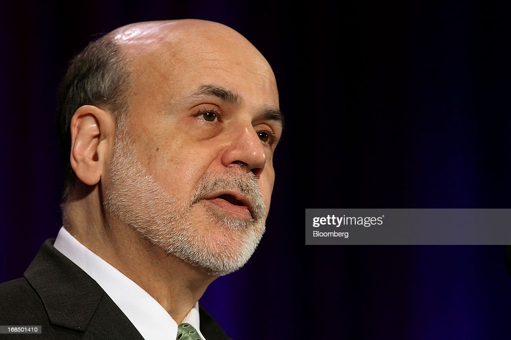 Ben S. Bernanke, chairman of the U.S. Federal Reserve, speaks during the 49th Annual Conference on Bank Structure and Competition in Chicago, Illinois, U.S., on Friday, May 10, 2013. Bernanke said risks persist in wholesale funding markets used frequently by Wall Street brokers to finance securities trading. Photographer: Tim Boyle/Bloomberg via Getty Images