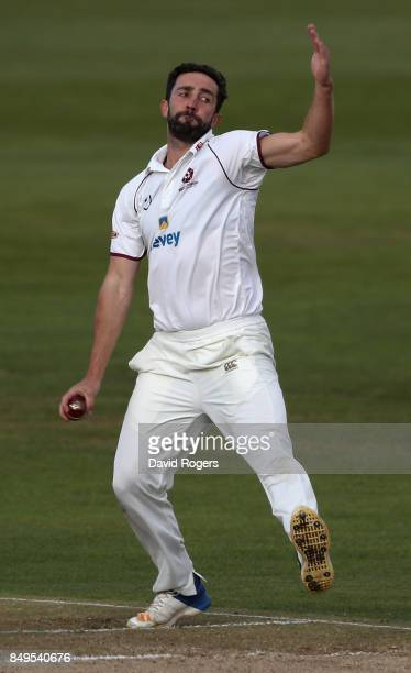 Ben Sanderson of Northamptonshire bowls during the Specsavers County Championship Division Two match between Northamptonshire and Nottinghamshire at...