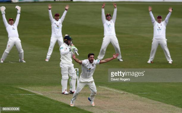 Ben Sanderson of Northamptonshire unsuccessfully appeals for the wicket of Colin Ingram during the Specsavers County Championship division two match...