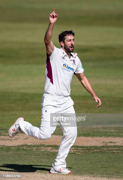 Ben Sanderson of Northamptonshire unsuccessfully appeals to the umpire during the Specsavers County Championship division two match between...