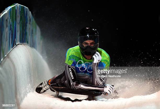 Ben Sandford of New Zealand competes in the men's skeleton fourth heat on day 8 of the 2010 Vancouver Winter Olympics at the Whistler Sliding Centre...