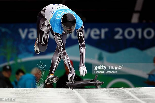 Ben Sandford of New Zealand competes in the men's skeleton training on day 4 of the 2010 Winter Olympics at Whistler Sliding Centre on February 15,...