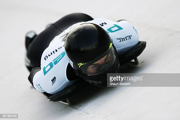 Ben Sandford of New Zealand during the Mens World Cup Skeleton at Cesana Pariol on January 20, 2005 in Cesana, Italy.