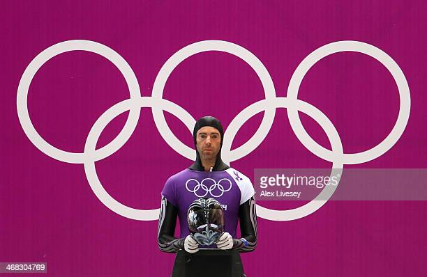 Ben Sandford of New Zealand prepares to make a run during a Men's Skeleton training session on Day 3 of the Sochi 2014 Winter Olympics at the Sanki...