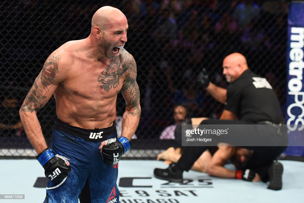 Ben Saunders reacts after finishing Jake Ellenberger in their welterweight fight during the UFC Fight Night event at the Adirondack Bank Center on June 1, 2018 in Utica, New York.