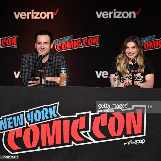 Ben Savage and Danielle Fishel speak onstage at the Boy Meets World 25th Anniversary Reunion panel during New York Comic Con 2018 at Jacob K Javits...