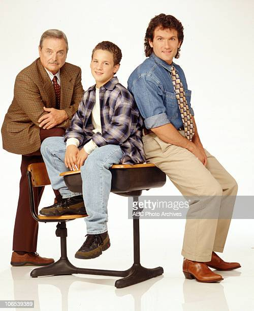Ben Savage portrays high school student Cory Matthews William Daniels is his principal and Anthony Tyler Quinn is his teacher in BOY MEETS WORLD...