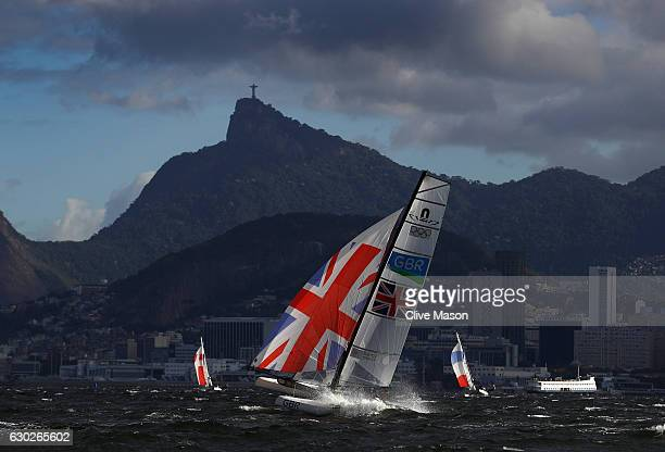 Ben Saxton and Nicola Groves of Great Britain in action during a Nacra 17 mixed class race on Day 6 of the Rio 2016 Olympics at Marina da Gloria on...