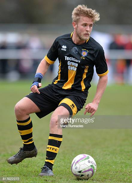 Ben Sayer of Morpeth Town in action during the FA Vase Semi Final Second Leg match between Morpeth Town AFC and Bowers & Pitsea FC at Craik Park on...