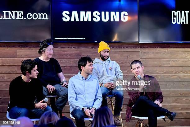 "Ben Schnetzer Christine Vachon Andrew Neel producer David Hinojosa and Nick Jonas discuss ""Goat"" at the Deadlinecom panel in the Samsung Studio..."