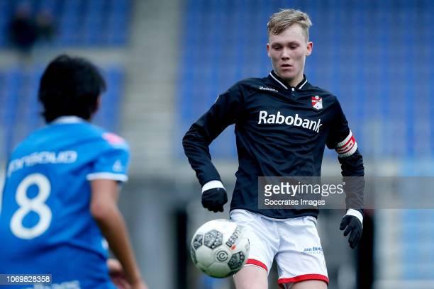 Ben Scholte of FC Emmen U19 during the match between PEC Zwolle U19 v FC Emmen U19 at the MAC3PARK Stadion on December 8 2018 in Zwolle Netherlands