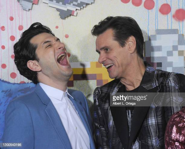 Ben Schwartz and Jim Carrey attend the LA Special Screening Of Paramount's Sonic The Hedgehog held at Regency Village Theatre on February 12 2020 in...