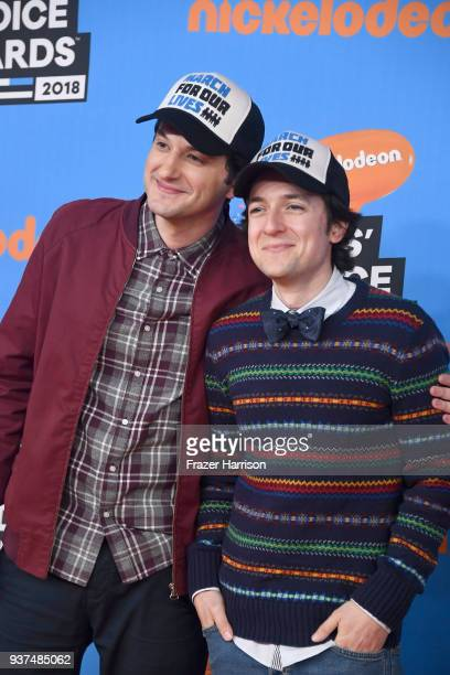 Ben Schwartz and Josh Brener attend Nickelodeon's 2018 Kids' Choice Awards at The Forum on March 24 2018 in Inglewood California