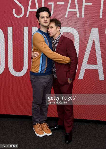 Ben Schwartz and Sam Rockwell attend the SAGAFTRA Foundation Conversations Blue Iguana at The Robin Williams Center on August 9 2018 in New York City