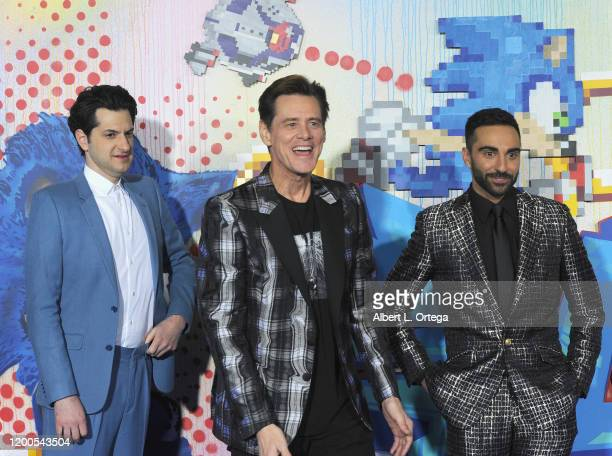Ben Schwartz Jim Carrey and Lee Majdoub attend the LA Special Screening Of Paramount's Sonic The Hedgehog held at Regency Village Theatre on February...