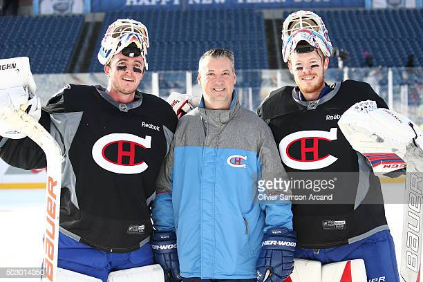Ben Scrivens and Mike Condon of the Montreal Canadiens pose on Practice Day on December 31 2015 during 2016 Bridgestone NHL Winter Classic at...