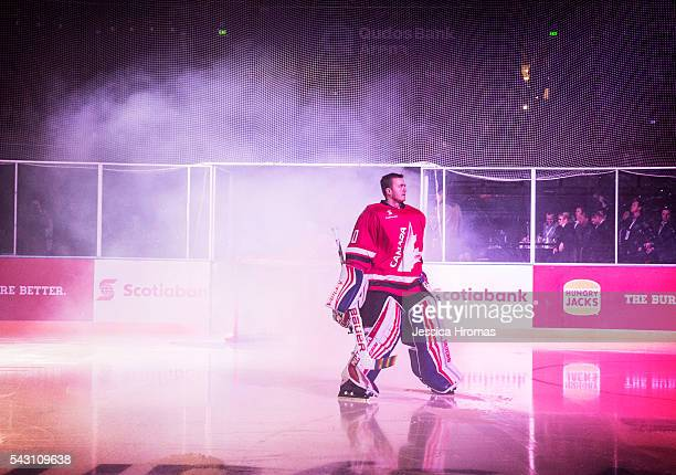 Ben Scrivens goalie for Team Canada makes his way onto the ice for the start of the Wayne Gretzky Ice Hockey Classic between Team USA and Team Canada...