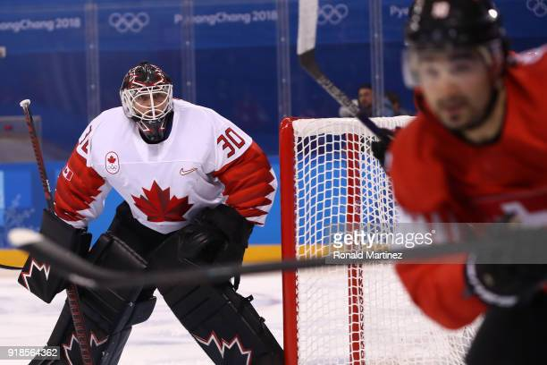 Ben Scrivens of Canada looks on against Switzerland during the Men's Ice Hockey Preliminary Round Group A game on day six of the PyeongChang 2018...