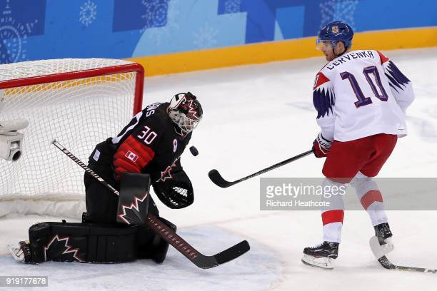 Ben Scrivens of Canada makes a save against Czech Republic in the first period during the Men's Ice Hockey Preliminary Round Group A game on day...
