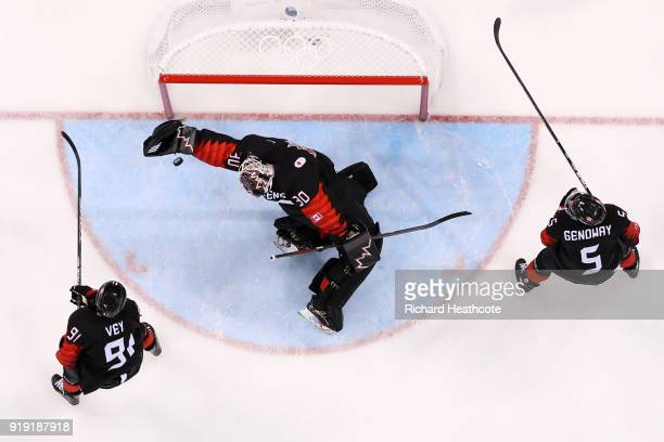 Ben Scrivens of Canada makes a save against Czech Republic in the second period during the Men's Ice Hockey Preliminary Round Group A game on day...