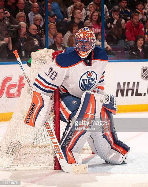 Ben Scrivens of the Edmonton Oilers defends the net against the St Louis Blues during an NHL game on March 13 2014 at Scottrade Center in St Louis...