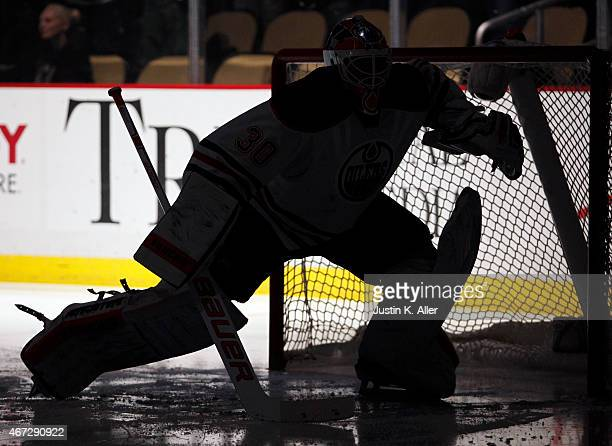 Ben Scrivens of the Edmonton Oilers during the game against the Pittsburgh Penguins at Consol Energy Center on March 12 2015 in Pittsburgh...
