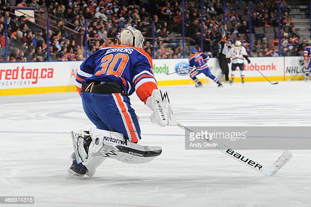 Ben Scrivens of the Edmonton Oilers skates to the bench in a game against the Nashville Predators on January 26 2014 at Rexall Place in Edmonton...