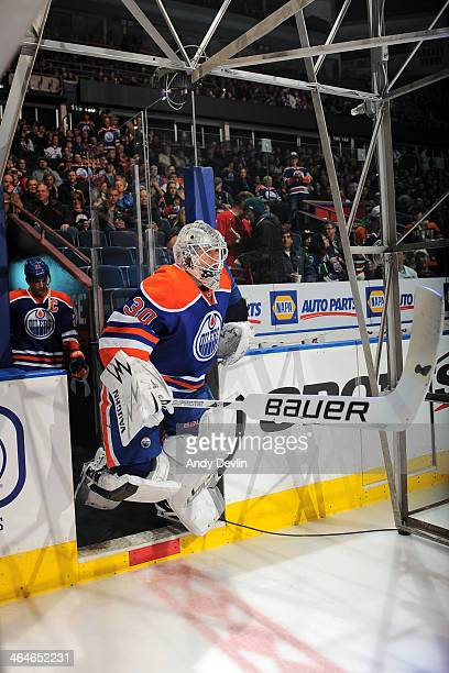 Ben Scrivens of the Edmonton Oilers steps onto the ice prior to a game against the Vancouver Canucks on January 21 2014 at Rexall Place in Edmonton...