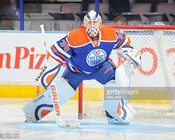 Ben Scrivens of the Edmonton Oilers warms up prior to a preseason game against the Arizona Coyotes on September 29 2015 at Rexall Place in Edmonton...
