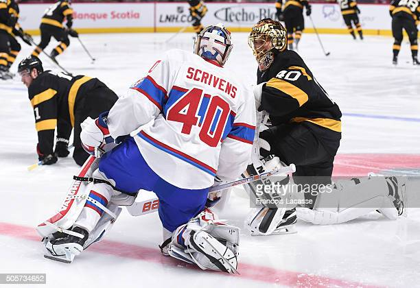 Ben Scrivens of the Montreal Canadiens and Tuukka Rask of the Boston Bruins exchange words before the NHL game at the Bell Centre on January 19 2016...