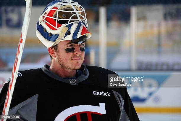 Ben Scrivens of the Montreal Canadiens attends practice as part of the 2016 Bridgestone NHL Classic at Gillette Stadium on December 31 2015 in...