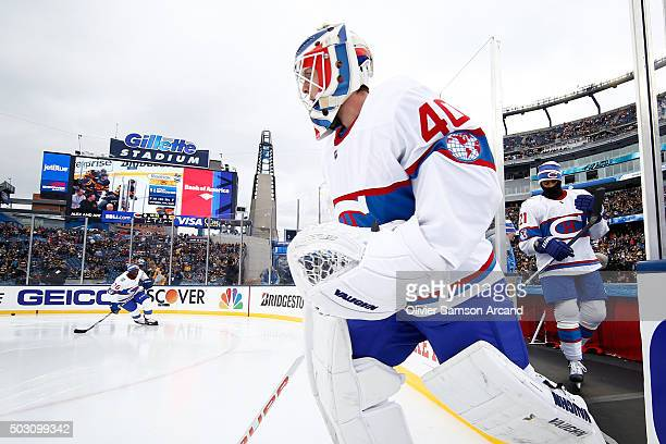 Ben Scrivens of the Montreal Canadiens hits the ice for warm ups before the game against the Boston Bruins on January 1 2016 during 2016 Bridgestone...