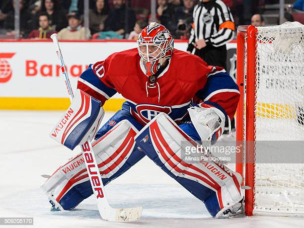 Ben Scrivens of the Montreal Canadiens protects his net during the NHL game against the Edmonton Oilers at the Bell Centre on February 6 2016 in...