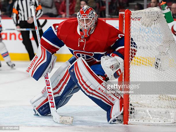 Ben Scrivens of the Montreal Canadiens protects his net during the NHL game against the New York Rangers at the Bell Centre on March 26 2016 in...