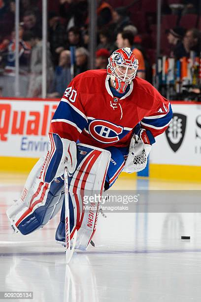 Ben Scrivens of the Montreal Canadiens skates during the warmup prior to the NHL game against the Edmonton Oilers at the Bell Centre on February 6...