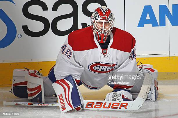 Ben Scrivens of the Montreal Canadiens stretches in the warmup prior to action against the Toronto Maple Leafs in an NHL game at the Air Canada...