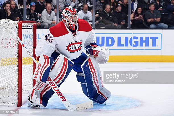 Ben Scrivens of the Montreal Canadiens tends net during the game against the Los Angeles Kings on March 3 2016 at Staples Center in Los Angeles...