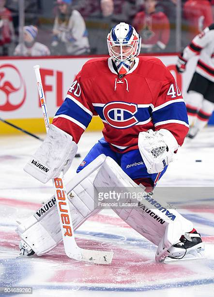 Ben Scrivens of the Montreal Canadiens warms up prior to the game against the New Jersey Devils in the NHL game at the Bell Centre on January 6 2016...
