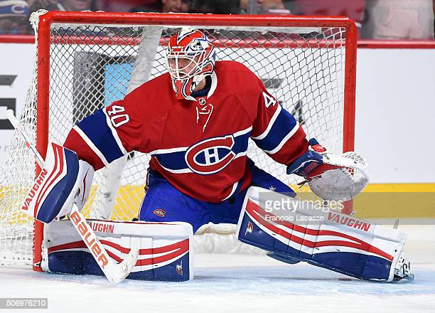 Ben Scrivens of the Montreal Canadiens warms up prior to the NHL game against of the Columbus Blue Jackets at the Bell Centre on January 26 2016 in...