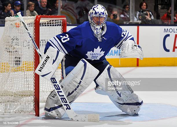 Ben Scrivens of the Toronto Maple Leafs defends the goal during NHL game action against the Montreal Canadiens April 27 2013 at the Air Canada Centre...