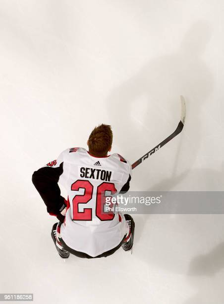 Ben Sexton of the Ottawa Senators watches a play develop during an NHL game on March 26 2016 at PNC Arena in Raleigh North Carolina