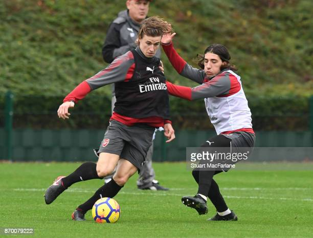 Ben Sheaf and Hector Bellerin of Arsenal during a training session at London Colney on November 4 2017 in St Albans England