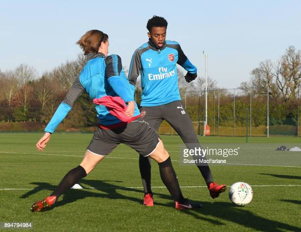 Ben Sheaf and Joe Willock of Arsenal during a training session at London Colney on December 18 2017 in St Albans England