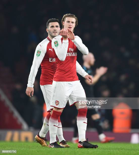 Ben Sheaf applauds the Arsenal fans after the Carabao Cup Quarter Final match between Arsenal and West Ham United at Emirates Stadium on December 19...